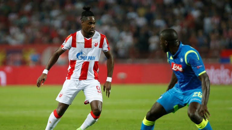 Richmond Boakye in action as Red Star Belgrade hold Napoli in UEFA Champions League