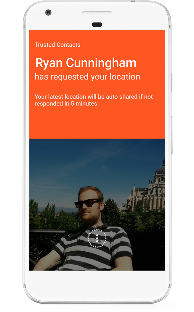 Screenshot of the application showing a trusted contact requesting your location